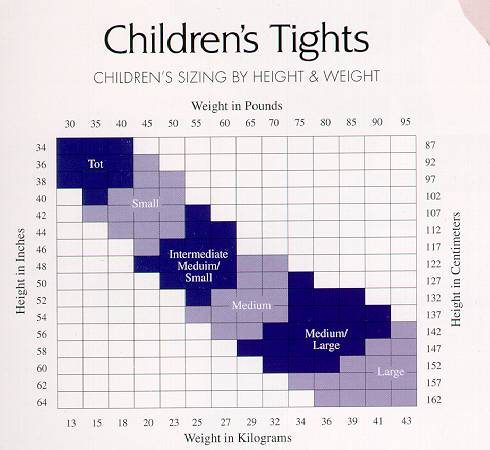 8c72bea8e Child Tights Fitting Chart - Dance Supplies USA
